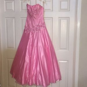 Light pink and silver ballgown pageant prom